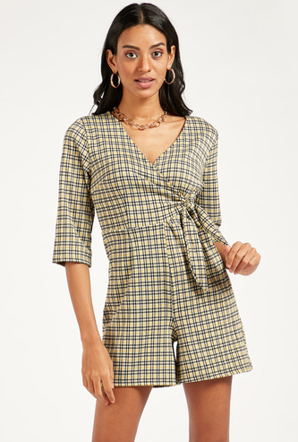 Checked V-Neck Playsuit with Side Knot Styling and 3/4 Sleeves