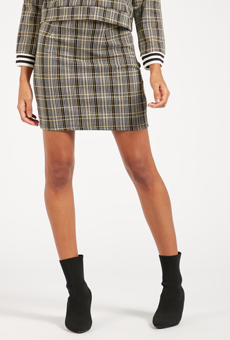 Chequered Mini Pencil Skirt with Elasticised Waistband