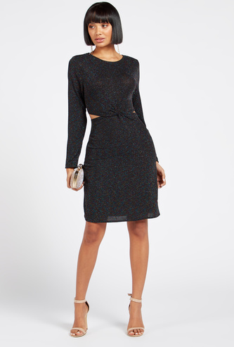 Textured Knee-Length Bodycon Dress with Round Neck and Long Sleeves