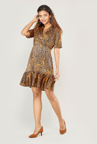 Print Mini A-line Dress with Collared Neck and Short Sleeves