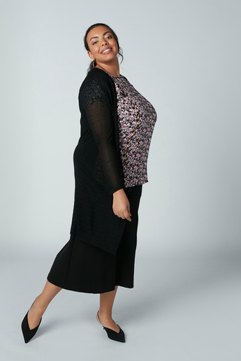 Textured Cardigan with Long Sleeves