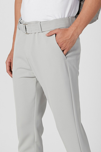 Full Length Plain Trousers with Pocket Detail and Belt Loops