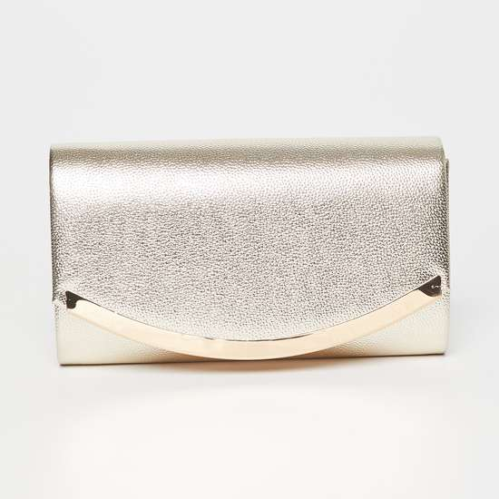 CODE Shimmery Evening Clutch with Metallic Chain