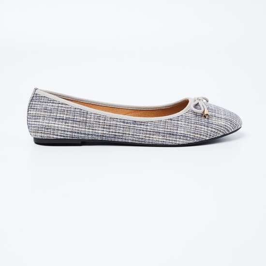 GINGER Patterned Weave Ballerinas with Mock Tie-Up