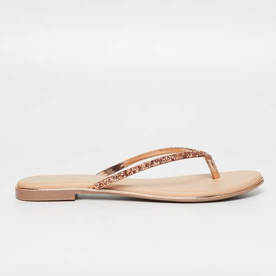 MELANGE Embellished T-strap Sandals