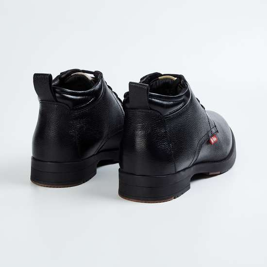 LEE COOPER Men Textured Leather Mid-Top Lace-Up Boots