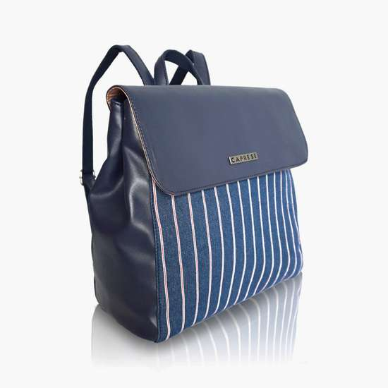 CAPRESE Women Striped Zip-Closure Backpack