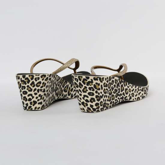 GINGER Printed Thong Slippers with Wedge Heels