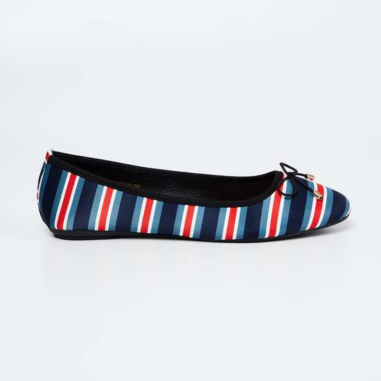 GINGER Striped Ballerinas with Mock Tie-Up
