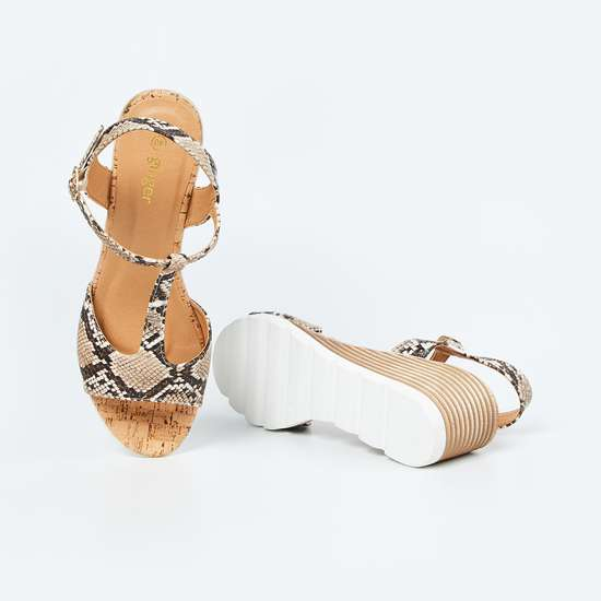 GINGER Reptilian Pattern Ankle-Strap Wedges