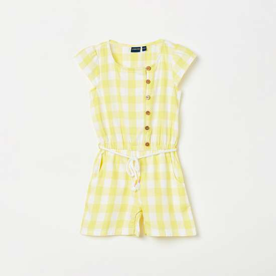 JUNIORS Girls Gingham Check Playsuit with Button Placket
