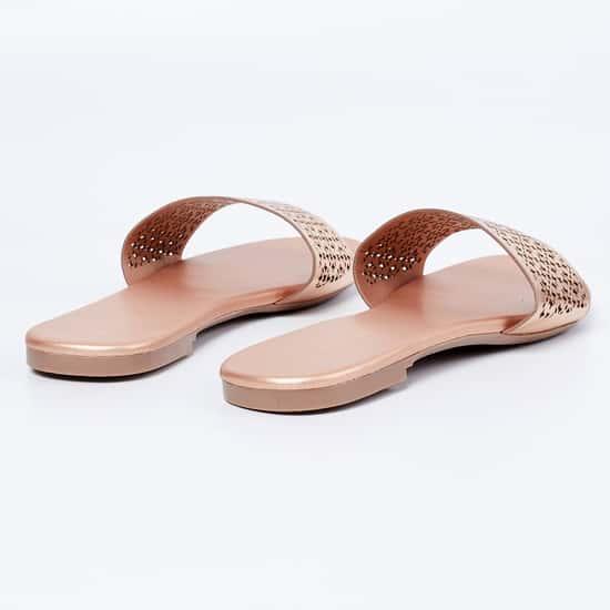 MELANGE Laser Cut Flat Sandals