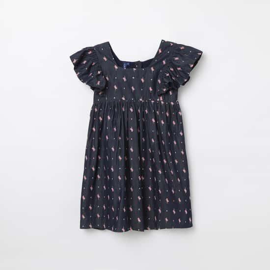 FAME FOREVER KIDS Printed Shift Dress with Flutter Sleeves
