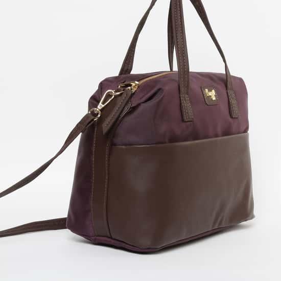 BAGGIT Textured Colourblock Handbag with Flat Handles