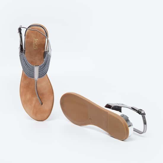 INC.5 Textured T-strap Flat Sandals
