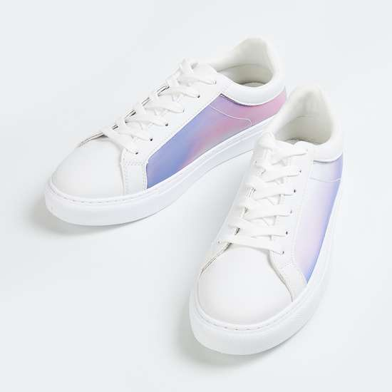 GINGER Women Panelled Lace-Up Casual Sneakers