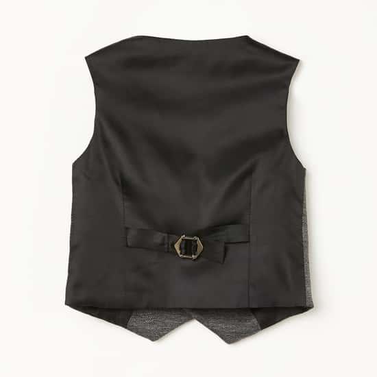 JUNIORS Boys Textured Single-Breasted Waistcoat
