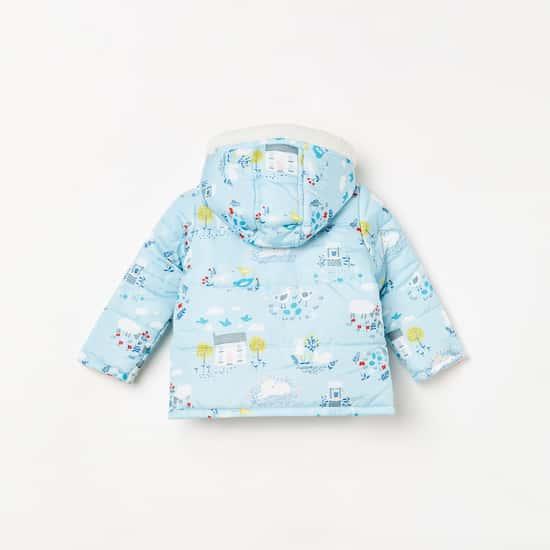 JUNIORS Girls Printed Hooded Reversible Jacket