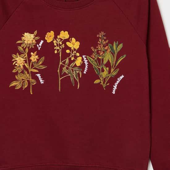 FAME FOREVER Girls Printed Round Neck Sweatshirt