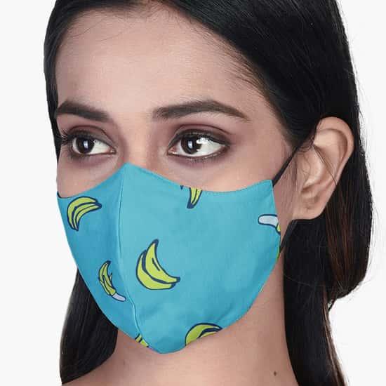 RAHO SAFE Banana Printed 3-Layered Face Mask