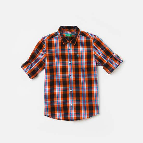 UNITED COLORS OF BENETTON Boys Checked Full Sleeves Shirt