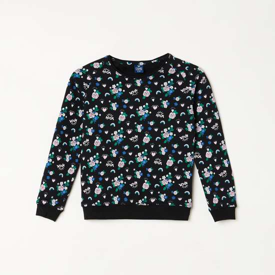 FAME FOREVER YOUNG Girls Printed Round Neck Sweatshirt