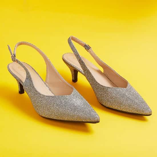 GINGER Women Glittered Slingback Heels