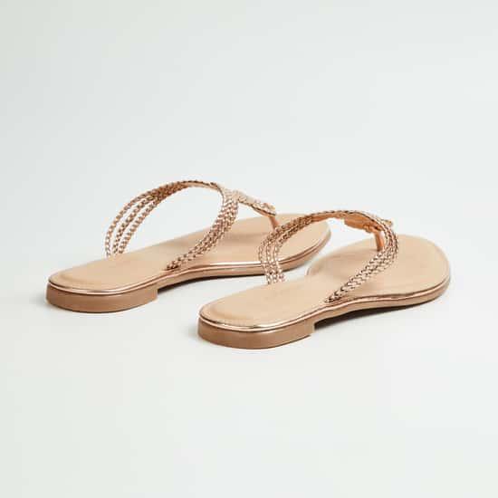 MELANGE Women Embellished T-strap Flats