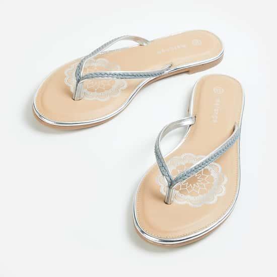 MELANGE Women Braided V-strap Flats