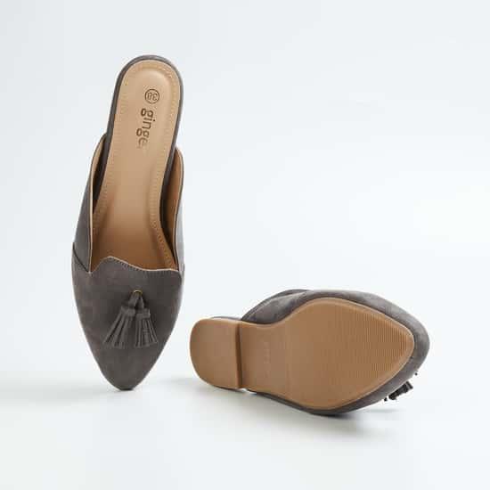 GINGER Women Pointed-Toe Tasselled Mules