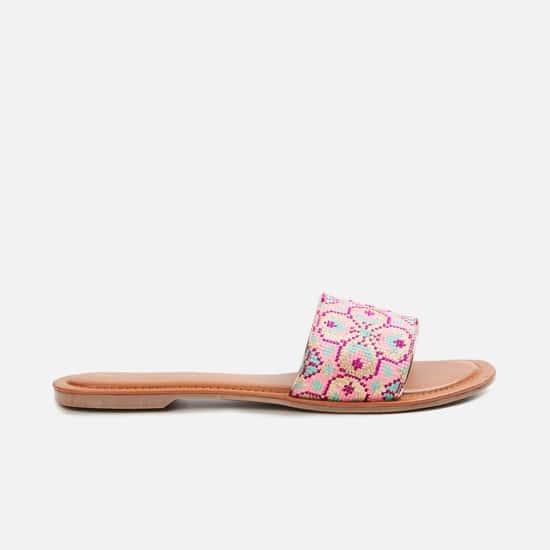 MELANGE Women Textured Open-Toe Flats