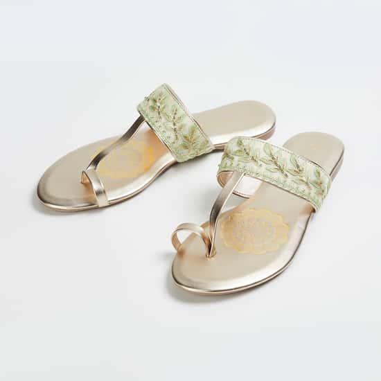 MELANGE Women Embroidered Flat Sandals