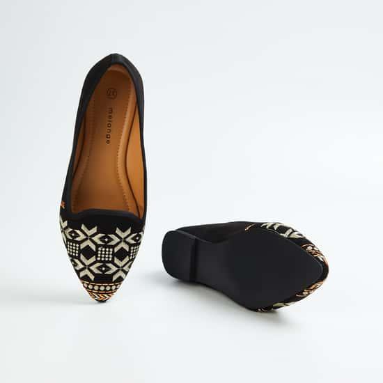 MELANGE Women Embroidered Ballerina Flats