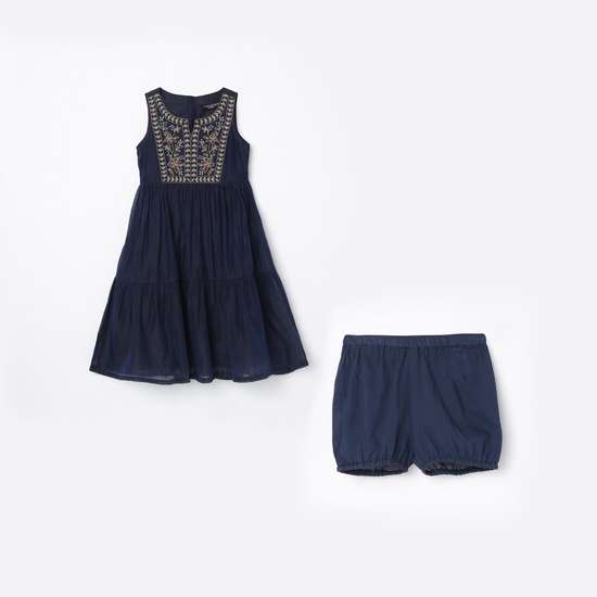 MELANGE Girls Embroidered A-line Dress with Shorts