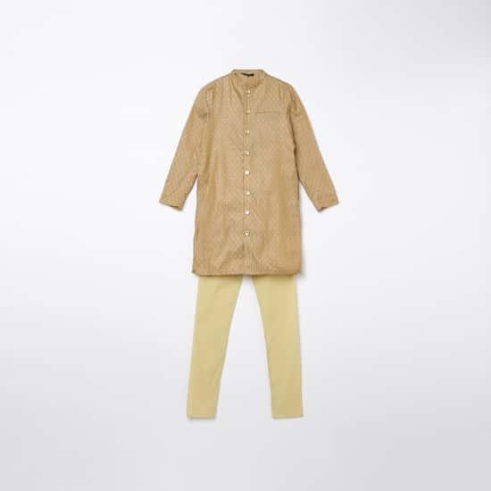 MELANGE Boys Printed Kurta with Solid Elasticated Pyjamas