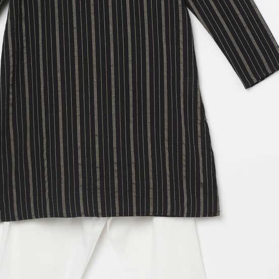 MELANGE Boys Striped Kurta with Elasticated Solid Pyjamas