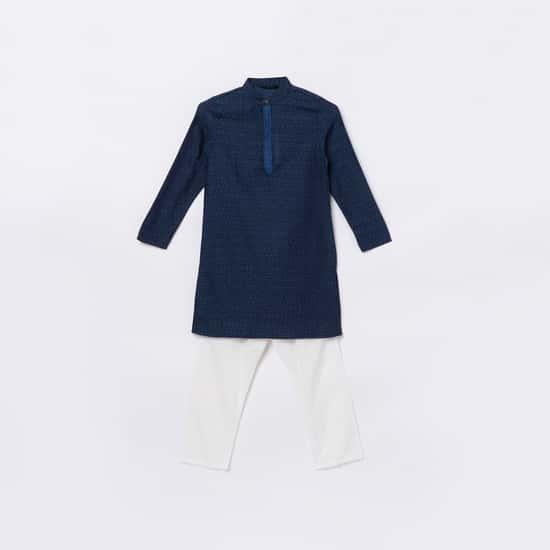 MELANGE Boys Printed Kurta with Elasticated Pyjamas