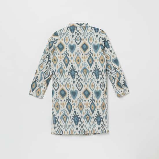 MELANGE Boys Printed Band Collar Kurta with Elasticated Waist Pyjamas