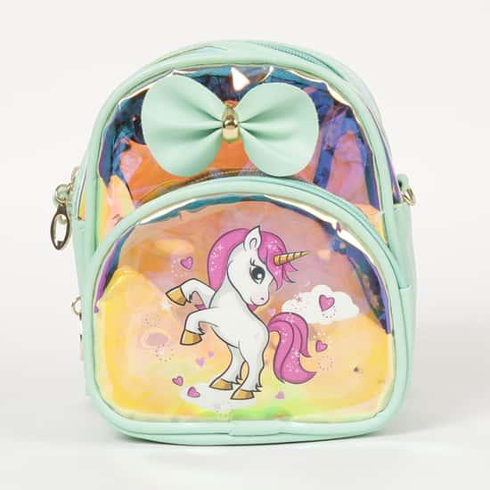 GINGER Girls Printed Zip-Closure Backpack
