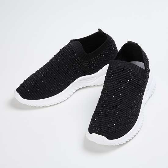 GINGER Women Textured Sock-Knit Shoes