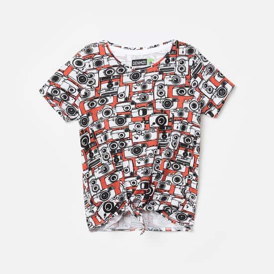 FAME FOREVER DENIMIZE Girls Printed Round Neck T-shirt