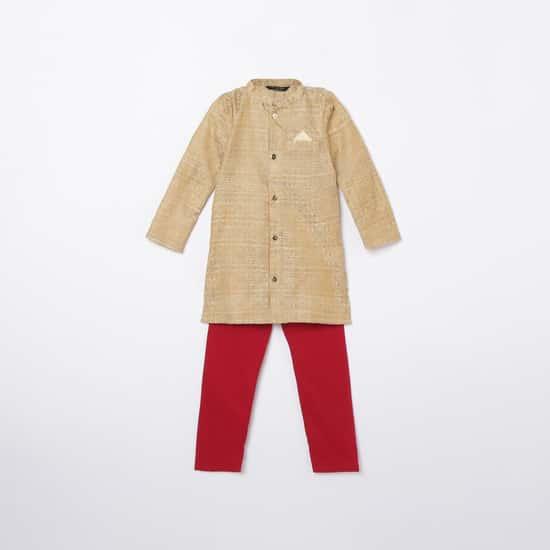 MELANGE Boys Embroidered Kurta with Solid Elasticated Pyjamas