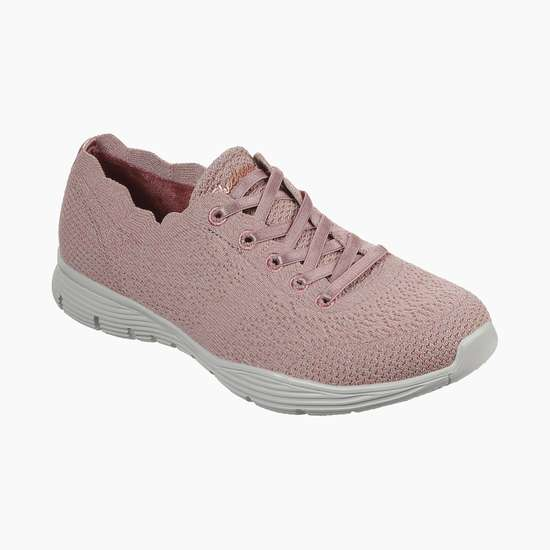 SKECHERS Solid Lace-Up Sports Shoes