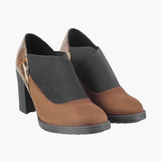 CATWALK Women Colourblocked Chunky Heel Ankle Boots