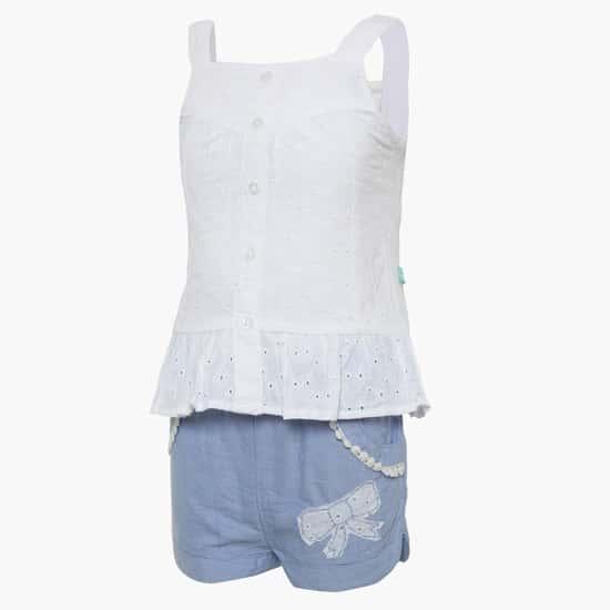 FS MINI KLUB Eyelet Cotton Top & Shorts Set