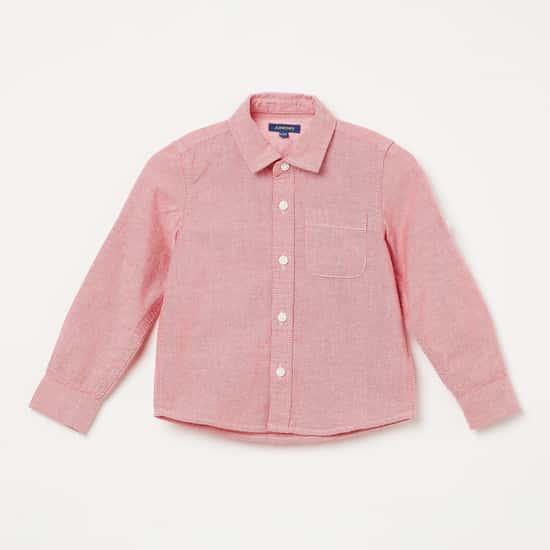 JUNIORS Textured Full Sleeves Shirt