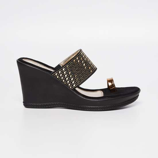 CATWALK Embellished Toe-Strap Wedges