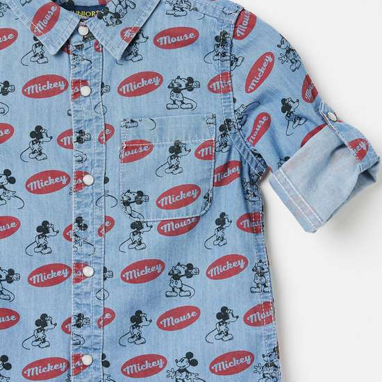JUNIORS Mickey Mouse Print Rolled-Up Sleeves Shirt
