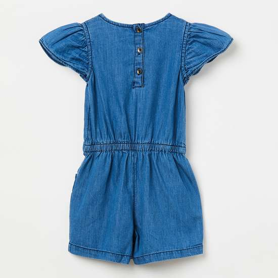 JUNIORS Floral Embroidery Playsuit with Cap Sleeves