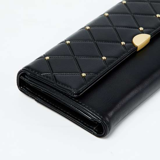 GINGER Quilted Tri-Fold Wallet with Studs
